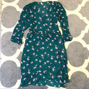 🔴 Old Navy Green Floral Midi Dress Long Sleeve
